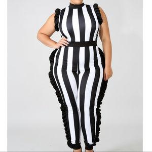 Plus Size Black & White Stripe Ruffle Jumpsuit